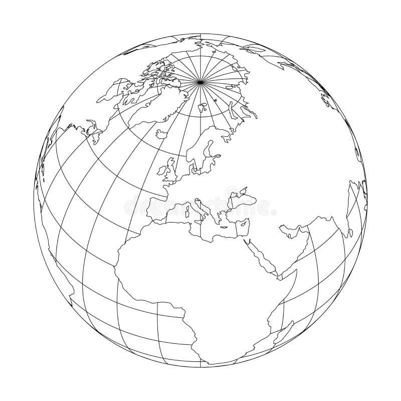 Esboce o globo da terra com o mapa do mundo focalizado em Europa Ilustração do vetor ilustração do vetor