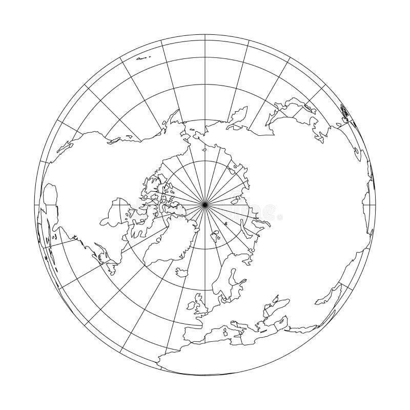 Esboce o globo da terra com o mapa do mundo focalizado em Europa Ilustração do vetor ilustração stock