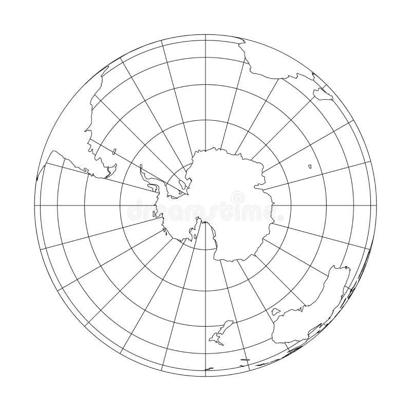 Esboce o globo da terra com o mapa do mundo focalizado na Antártica Ilustração do vetor ilustração royalty free