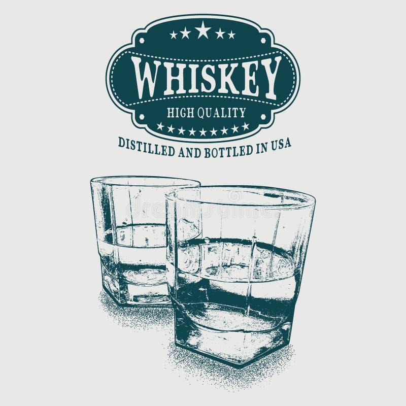 Esboce o logotipo do uísque e os dois vidros da bebida ilustração stock