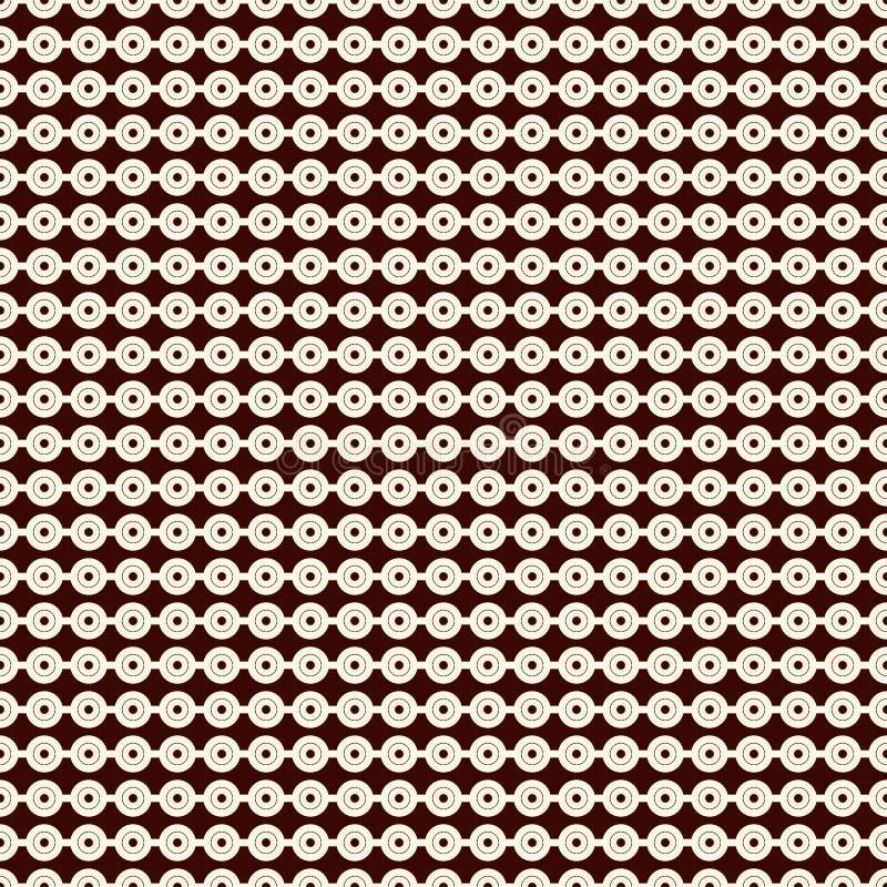 Esboce o teste padrão sem emenda com linhas horizontais e círculos Cordas do motivo dos grânulos Fundo geométrico minimalista ilustração do vetor