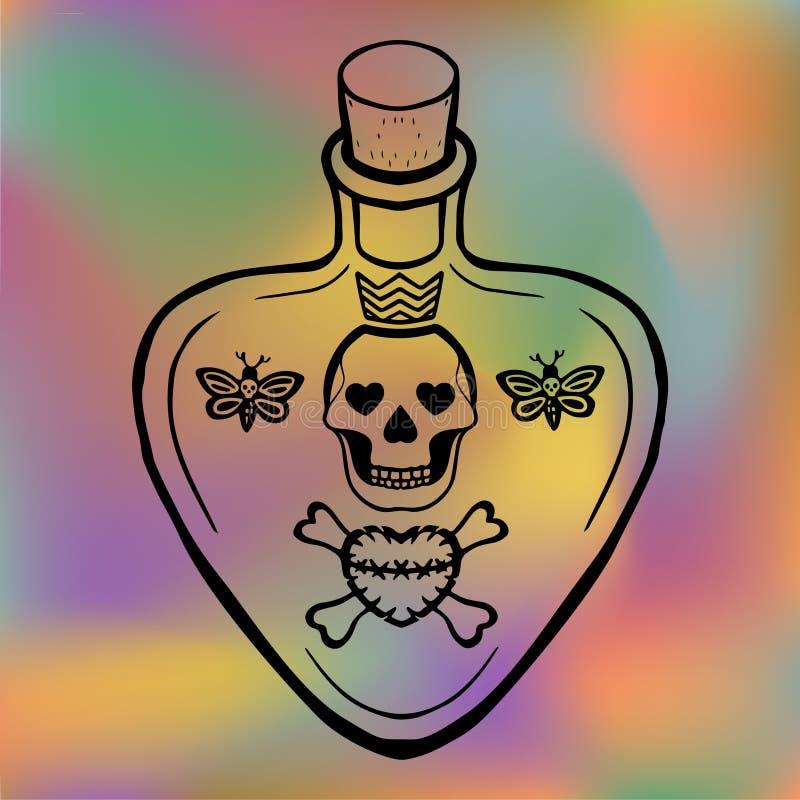 Esboce a poção de amor da tatuagem ou envenene o vetor da garrafa com crânio e ossos cruzados, símbolos esotéricos, esboço orname ilustração stock