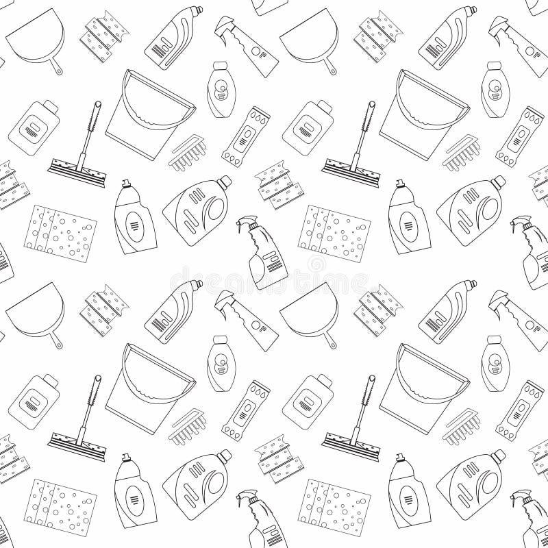 Esboce produtos de limpeza e o teste padrão sem emenda do fundo do equipamento ilustração stock