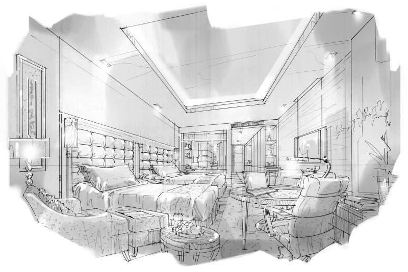 Esboce a sala interior da cama da perspectiva, design de interiores preto e branco ilustração stock