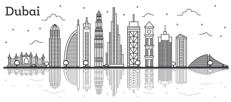 Esboce a skyline da cidade de Dubai UAE com construções modernas e reflita-a ilustração stock