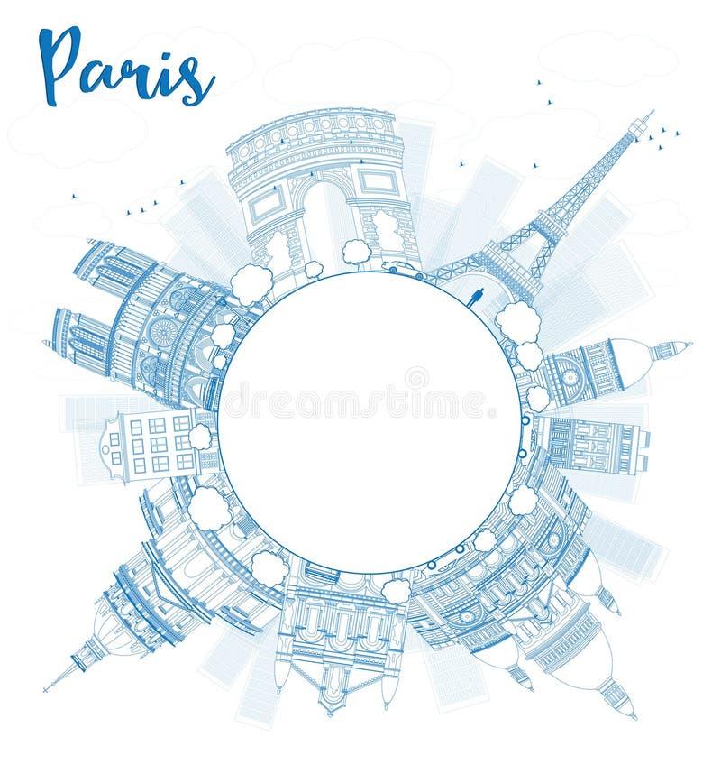 Esboce a skyline de Paris com marcos azuis e copie o espaço ilustração do vetor