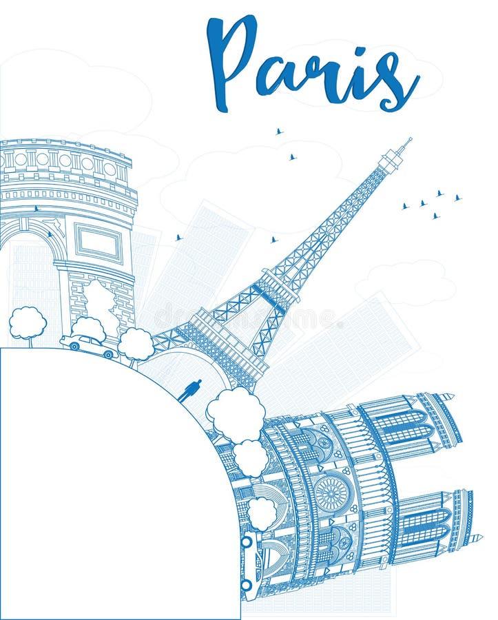 Esboce a skyline de Paris com marcos azuis e copie o espaço ilustração royalty free