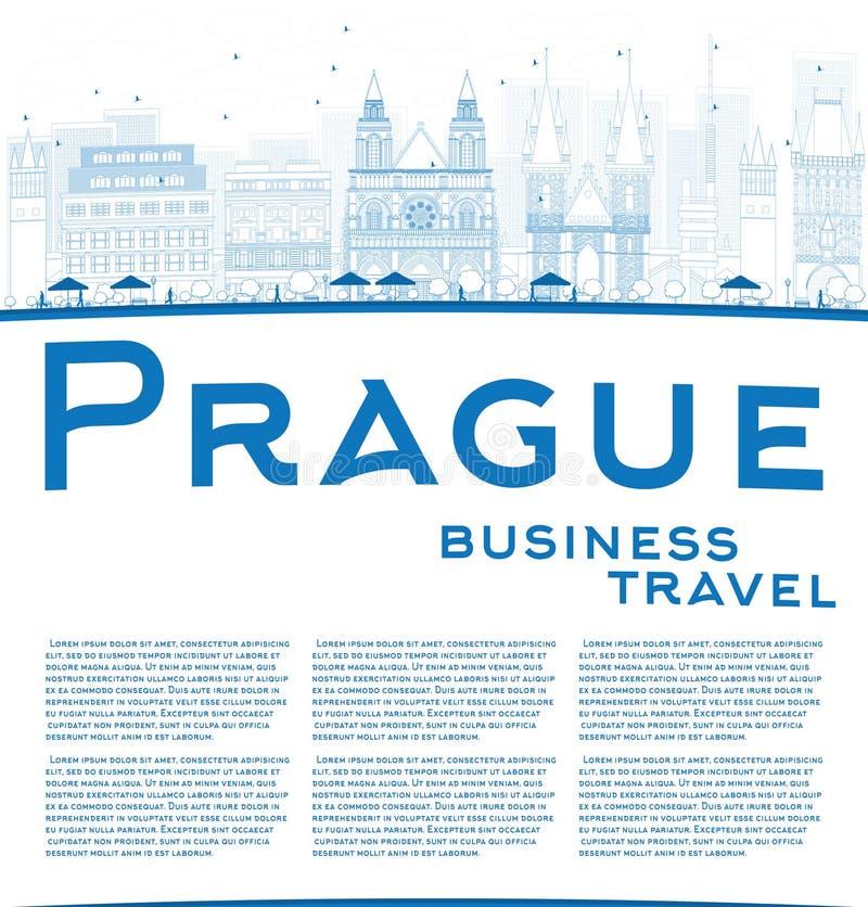 Esboce a skyline de Praga com marcos azuis e copie o espaço ilustração do vetor