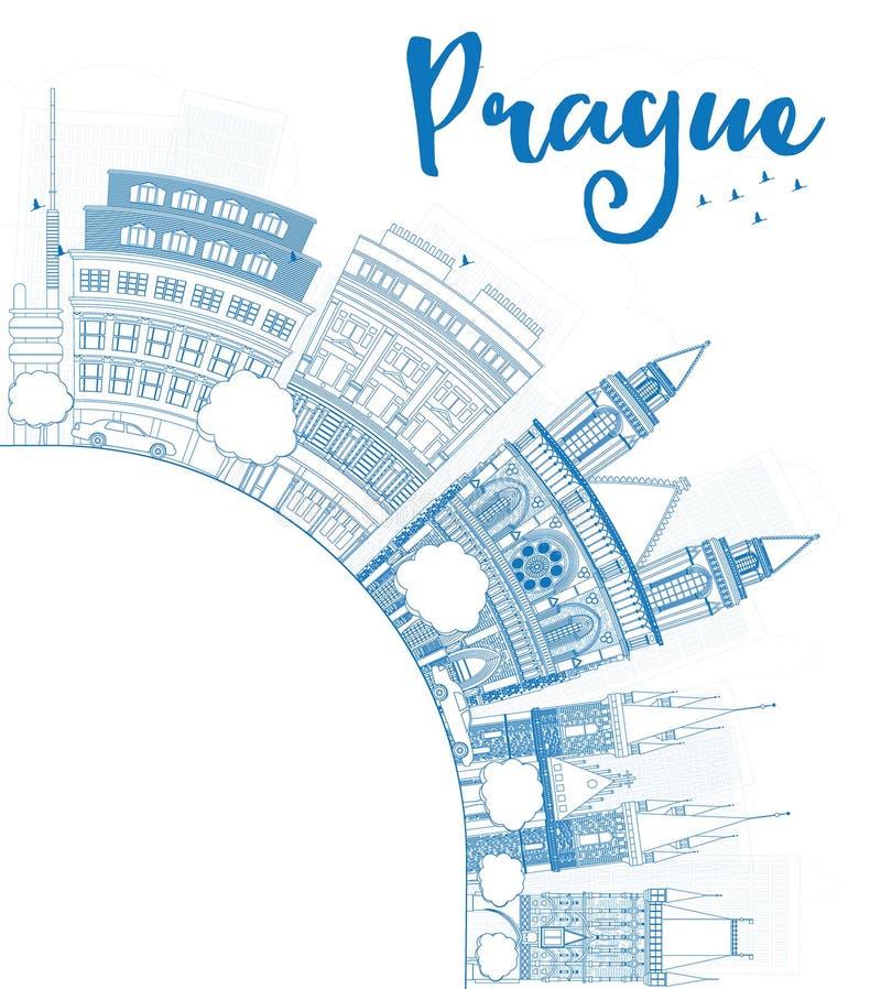 Esboce a skyline de Praga com marcos azuis e copie o espaço ilustração stock