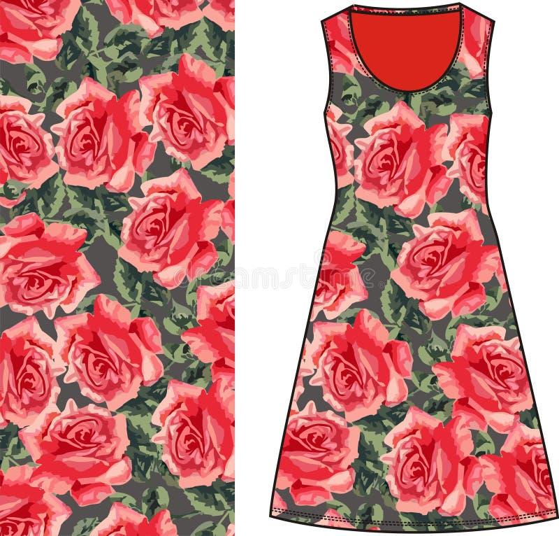 Esboce a tela fêmea do verde do vestido do verão com rosas vermelhas e esverdeie as folhas no chique gasto do estilo, provence, b ilustração royalty free