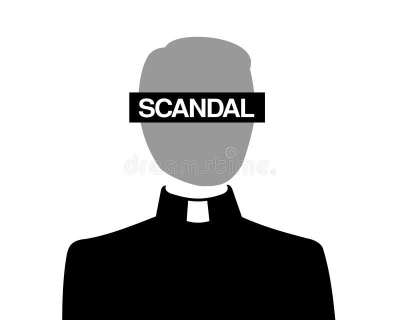 Escándalo en iglesia cristiana católica ilustración del vector