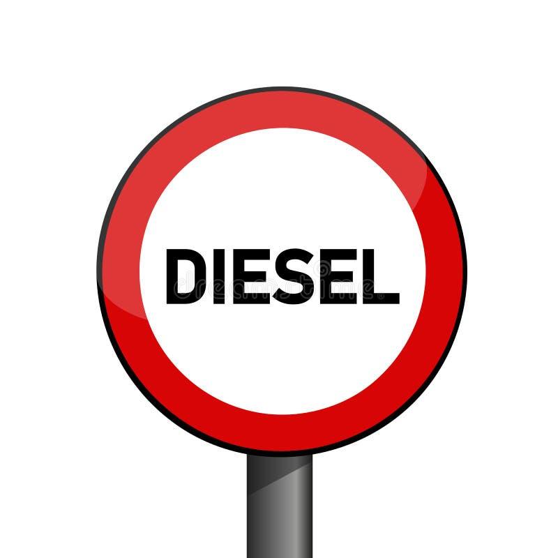 Escándalo rojo prohibido diesel de la emisión de la señal de tráfico ilustración del vector