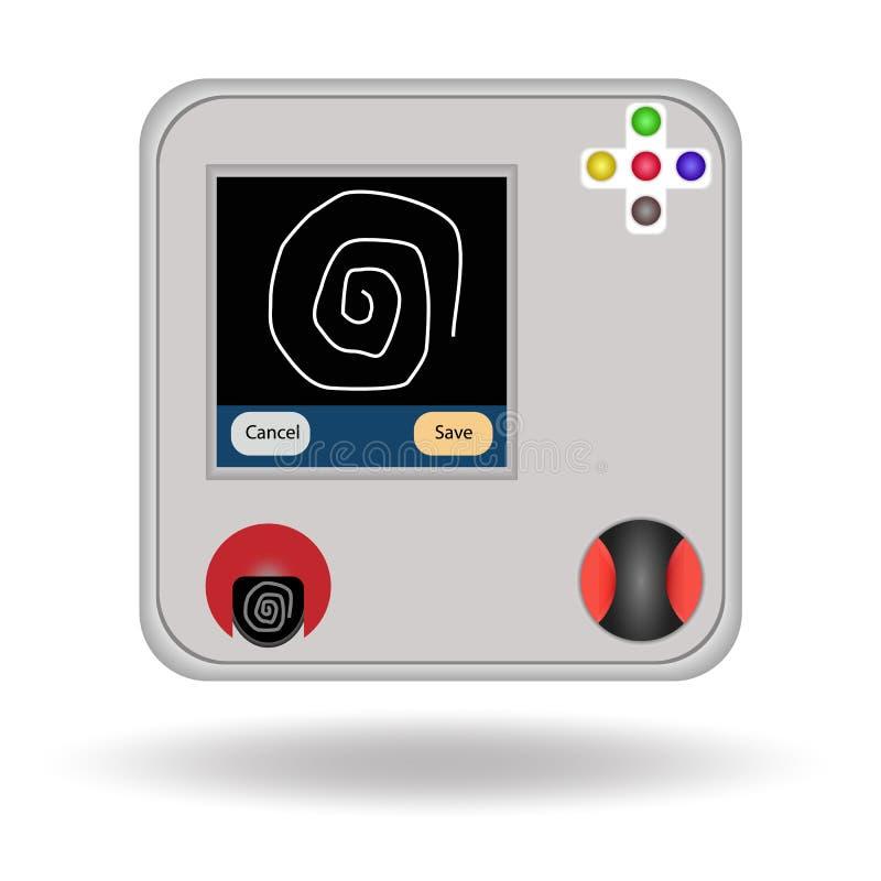 Escáner aislado, ejemplo del finger del objeto stock de ilustración
