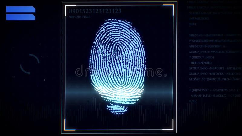Escáner de la huella dactilar, sistema de identificación libre illustration
