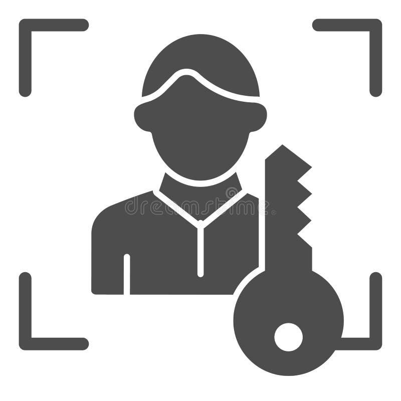 Escáner de la identificación de la cara con el icono sólido dominante Ejemplo del vector de la identificación del usuario aislado ilustración del vector