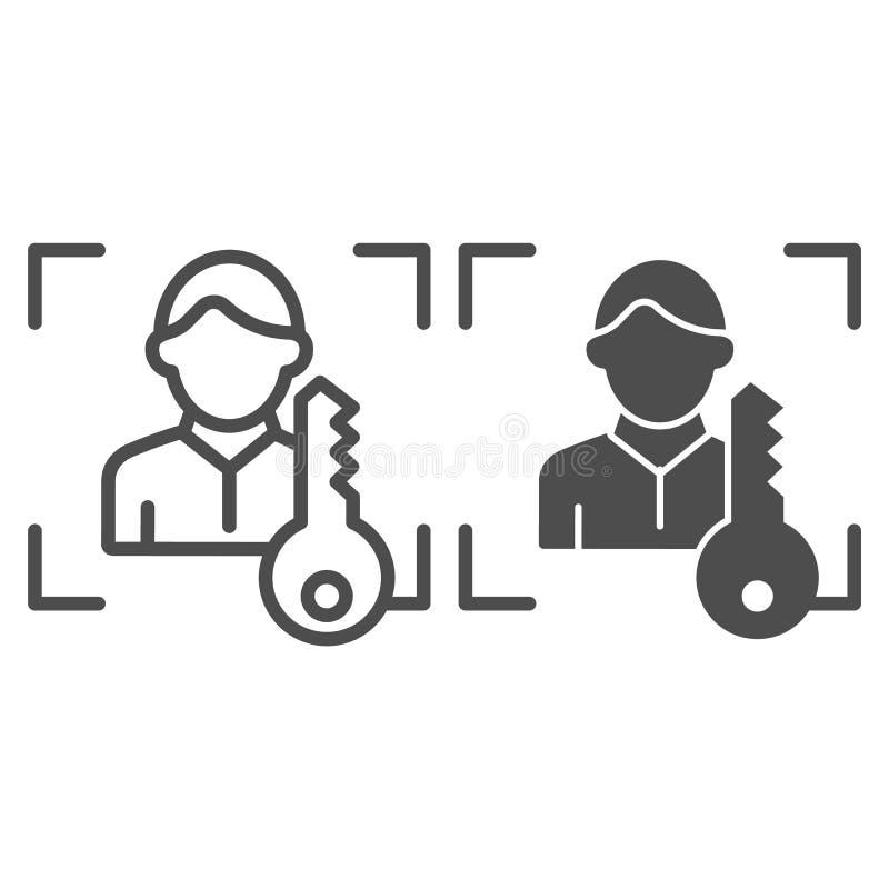 Escáner de la identificación de la cara con la línea y el icono dominantes del glyph Ejemplo del vector de la identificación del  libre illustration