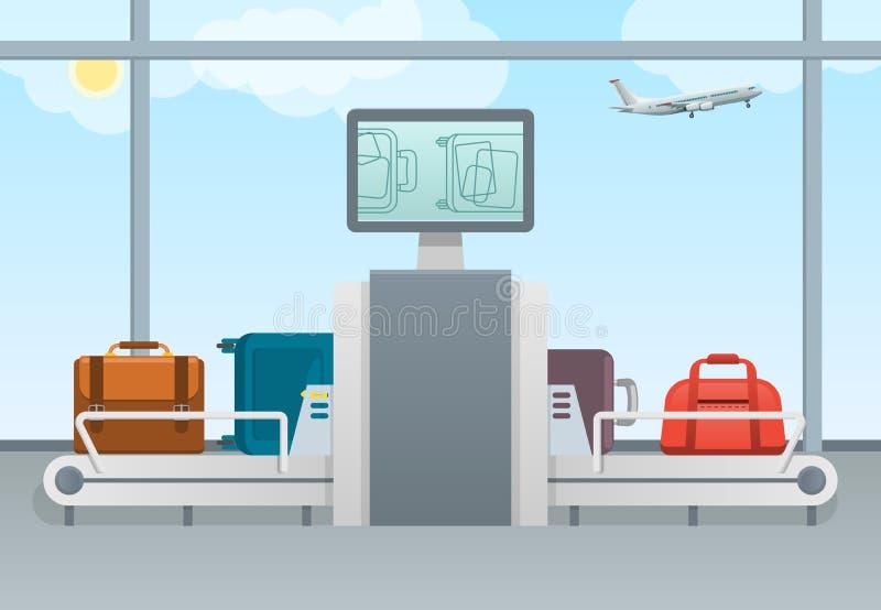 Escáner del equipaje del aeropuerto de la seguridad de transporte de la banda transportadora con el cojín y las pantallas del con stock de ilustración