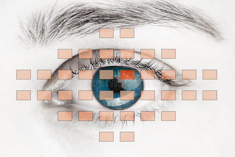 Escáner en ojo humano azul foto de archivo libre de regalías