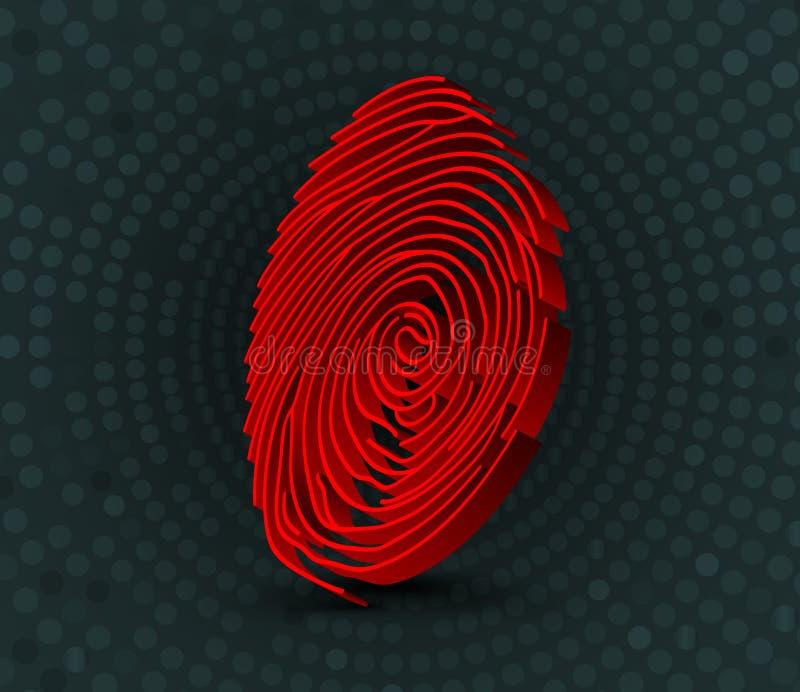 Escáner rojo de la huella dactilar ilustración 3D ilustración del vector