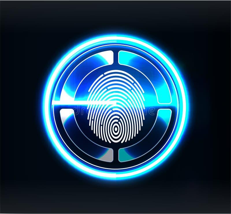 Escáneres de la verificación Exploración del finger en estilo futurista Identificación biométrica con futurista ilustración del vector