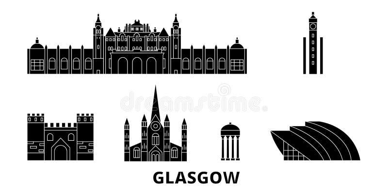 Escócia, grupo liso da skyline do curso de Glasgow City Escócia, ilustração do vetor da cidade do preto de Glasgow City, símbolo, ilustração royalty free