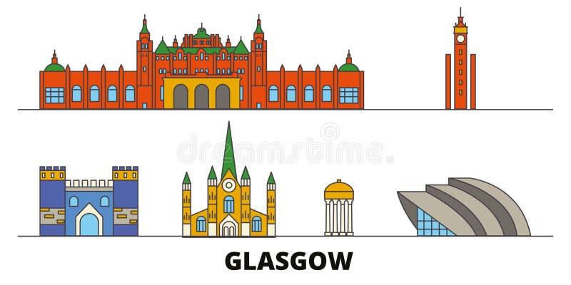 Escócia, ilustração lisa do vetor dos marcos de Glasgow City Escócia, linha cidade de Glasgow City com vistas famosas do curso ilustração do vetor