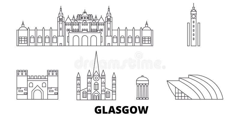 Esc?cia, linha grupo de Glasgow City da skyline do curso Esc?cia, ilustra??o do vetor da cidade do esbo?o de Glasgow City, s?mbol ilustração royalty free