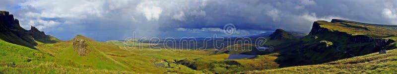 Escócia, panorama de Quiraing fotos de stock