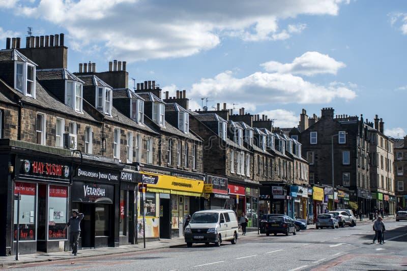 Escócia Reino Unido Edimburgo 14 05 2016 - Dia a dia na loja das ruas imagem de stock