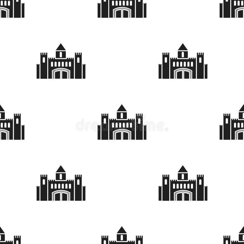 Escúdese el icono en estilo negro en el fondo blanco Ejemplo del vector de la acción del modelo del edificio libre illustration