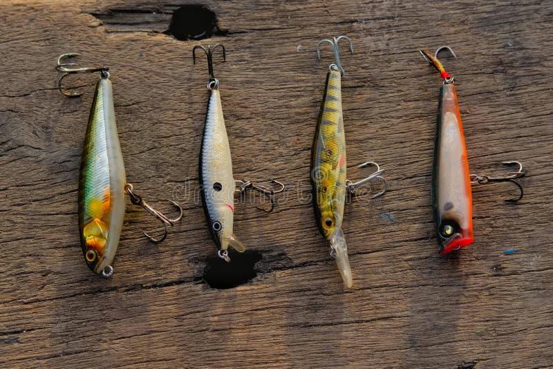 esca di pesca sulla tavola di legno fotografia stock libera da diritti