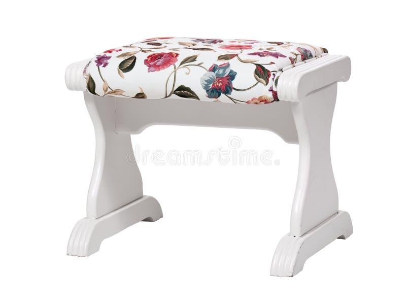 Escabel Blanco Con La Impresión Floral Aislada Imagen de archivo ...