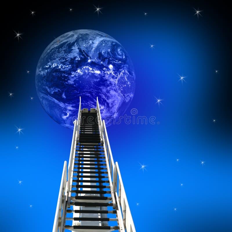 Escada ao sucesso até a terra foto de stock