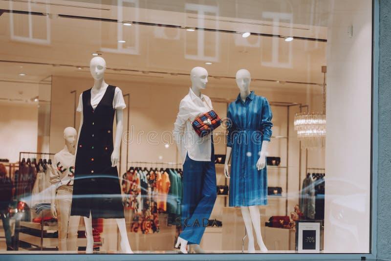 Escada boutique. Signboard logo brend sign and showcase window of Escada store, shop, mall, boutique. Kiev, Ukraine - September 02 stock photos