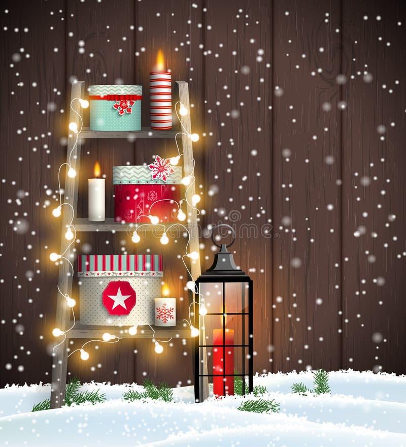 Escada com velas e caixas de presente do Natal ilustração stock