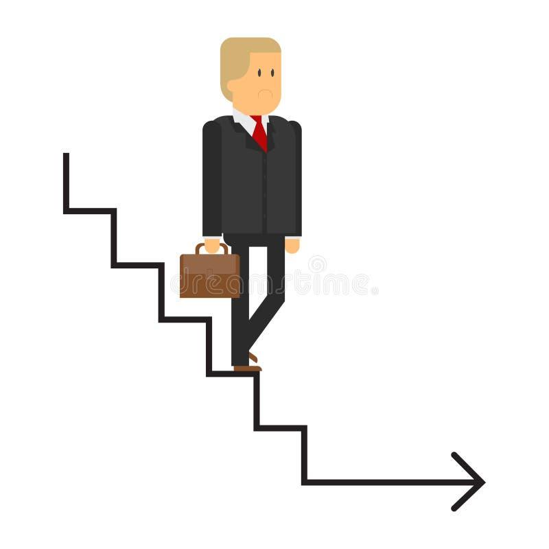 A escada da carreira, um homem desce as escadas, um homem de negócio, o co ilustração stock