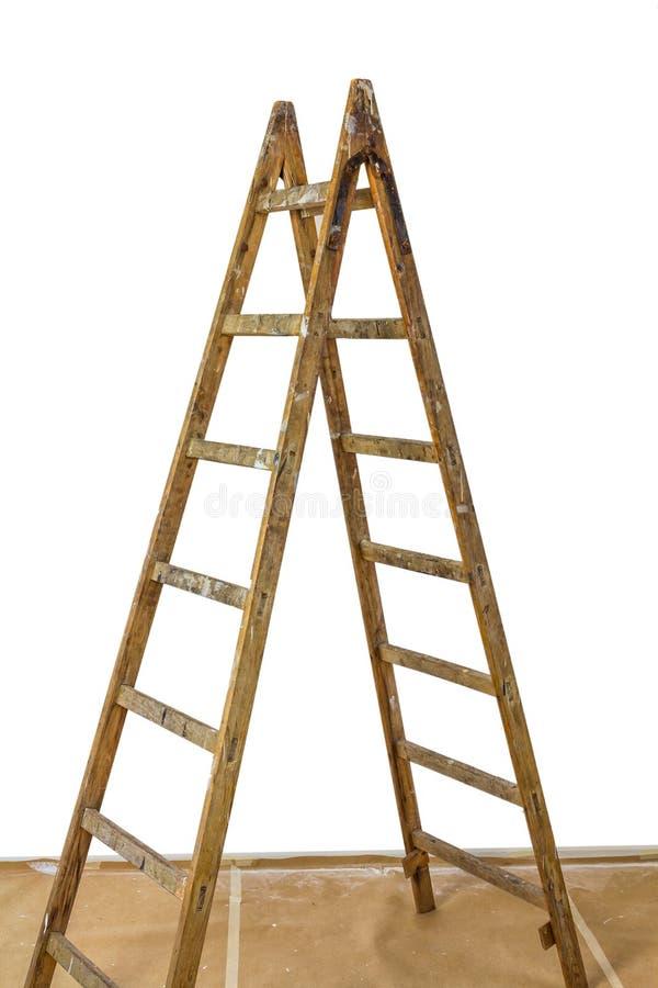 Escada da madeira dos pintores foto de stock