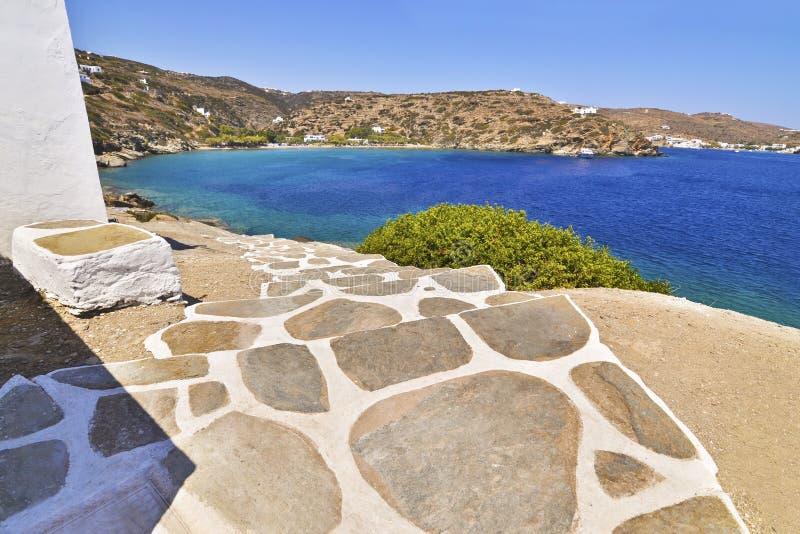 Escada de Cycladic em Sifnos Grécia fotos de stock