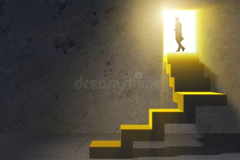 A escada de escalada da carreira do homem de negócios novo fotografia de stock royalty free