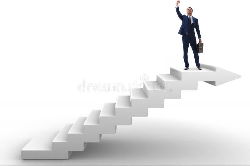 A escada de escalada da carreira do homem de negócios no conceito do negócio imagens de stock