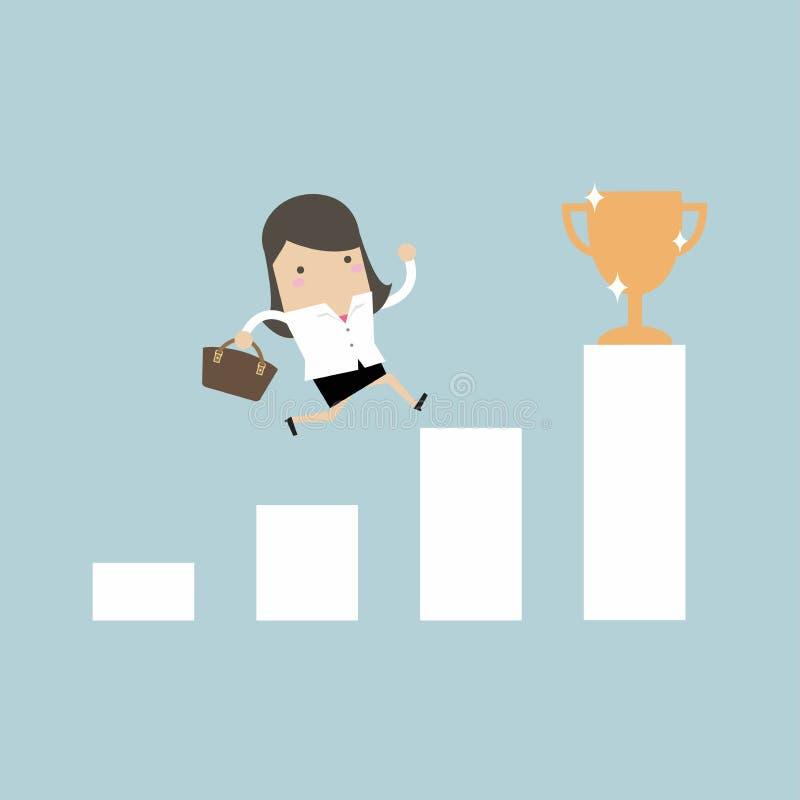 Escada de escalada da mulher de negócios ao sucesso Conceito da motivação e do objetivo a ser bem sucedido no negócio e na vida ilustração stock