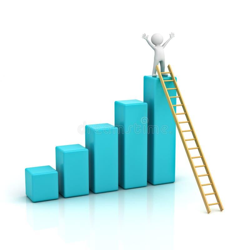escada de escalada do homem 3d à parte superior do gráfico ilustração stock