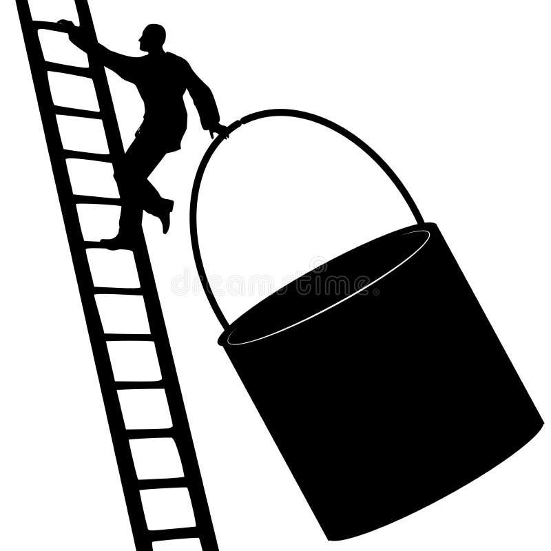Escada de escalada do homem com cubeta da pintura ilustração do vetor