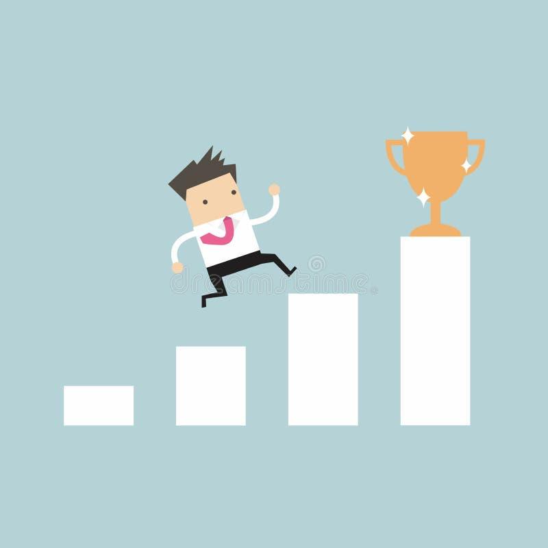 Escada de escalada do homem de negócios ao sucesso Conceito da motivação e do objetivo a ser bem sucedido no negócio e na vida ilustração royalty free