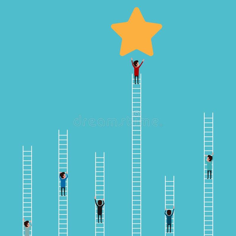 Escada de escalada do homem de negócios a star e sucesso Conceito da competição e do negócio ilustração royalty free