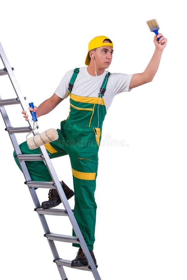A escada de escalada do pintor novo do reparador isolada no branco fotos de stock