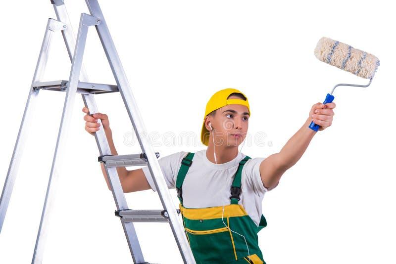 A escada de escalada do pintor novo do reparador isolada no branco fotos de stock royalty free