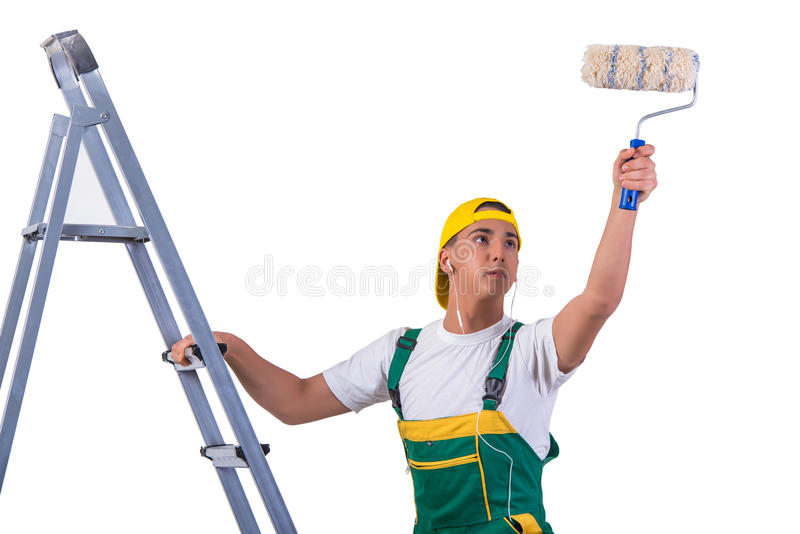 A escada de escalada do pintor novo do reparador isolada no branco fotografia de stock
