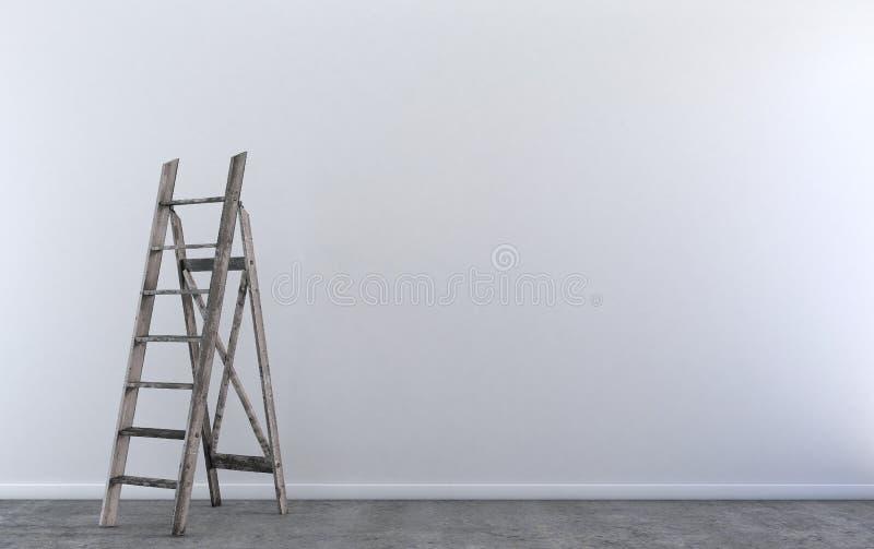 Escada de etapa de madeira na sala vazia ilustração royalty free