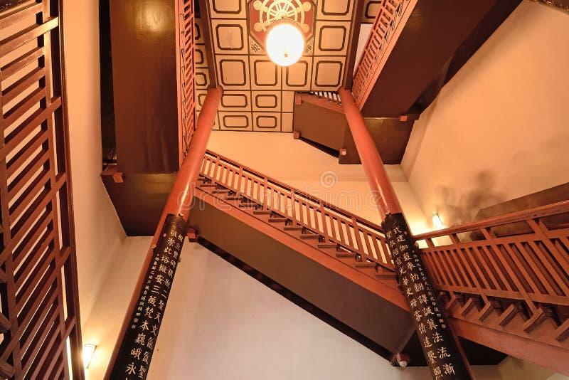 Escada de madeira de Xian China-The no pagode selvagem grande do ganso fotos de stock